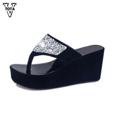 VTOTA Summer Women's Shoes Rhinestone Woman Flip Flops Wedged Platform Designer Shoes Woman Beach Slippers Zapatos Mujer XY14