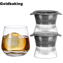 2 Pieces Sphere Ice Molds Perfect Ice Ball Maker  for Slow-melting Beverage Chillers 2.5 Inch Ball