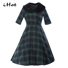 Spring 2017 New Vintage Retro 50s 60s Red Green Plaid Tartan printed Knee Length tunic party ball gown skater rockabilly dress