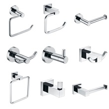 SUS 304 Stainless Steel Bathroom Hardware Sets Chrome Bright Polished Bathroom Accessories Paper Holder Towel Bar Clothes hook