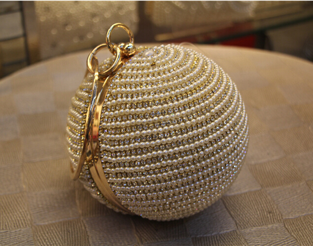 Best Price Womens Pearl Bag Pearl Beaded Diamond Tellurion Evening Bag Bridal Wedding Round Ball Wrist Bag Clutch Purse Handbag<br><br>Aliexpress