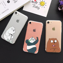 Cute Cartoon Bear Panda Phone Case for Iphone 5 For Iphon 5S SE 6 6S Plus 7 7 Plus Soft TPU Protective Phone Covers Coque YC2025
