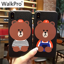 Buy WalkPro iphone 8 case cover Bear soft TPU Silicone back slim coque apple 8 cover capa Couple fashion phone cases Cartoon for $4.49 in AliExpress store