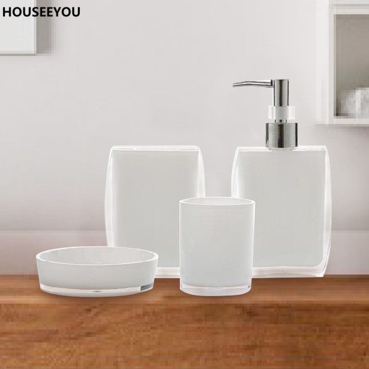 Bath Ensemble Bathroom Soap Dish Lotion Dispenser Toothbrush Holder Cup Bathroom Vanity 4 Pcs/Set(China (Mainland))