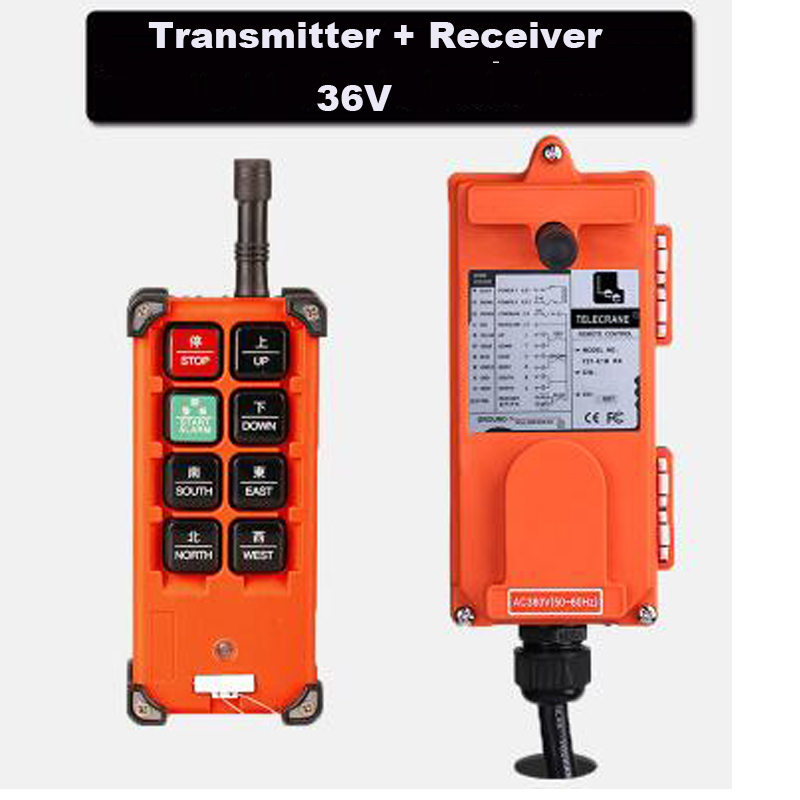 Quality Assurance 36VAC Industrial remote controller Hoist Crane Control Crane remote control 1 Transmitter + 1 Receiver<br>