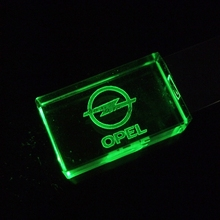 Glass Crystal USB Flash Drive Opel car Logo 4GB 8GB 16GB 32GB USB 2.0 Flash Disk Stick Pendrive with LED Light Free LOGO Over 10