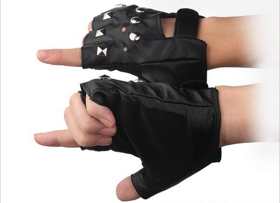 Wholesale leather glove rivet slip spring dance dance break half men and women riding motorcycle<br><br>Aliexpress
