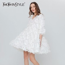 Buy TWOTWINSTYLE Feather Casual Dress Female Black White Party Dresses Women Sexy Tunic Big Sizes Clothes Korean Spring Summer for $30.15 in AliExpress store