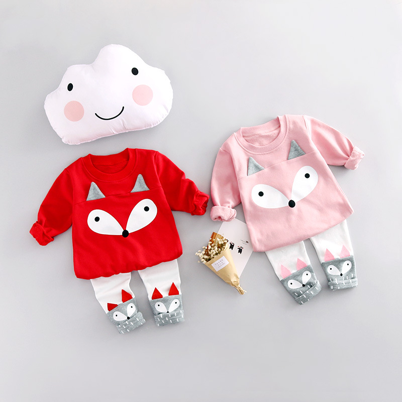Baby Cartoon Fox Suit Cotton T-shirt Sweater + Leg...
