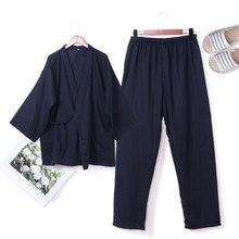 7ed1780d05 QWEEK Spring 100% Cotton Male Pajamas Sets Pyjamas Men Kimono Mens  Sleepwear Japanese Style Soft High Quality Home Wear 2 Pieces