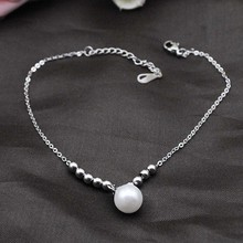 Dolaime charm links stainless steel pearl anklets simple style fashion jewelry for women,length 28cm GA0021(China)