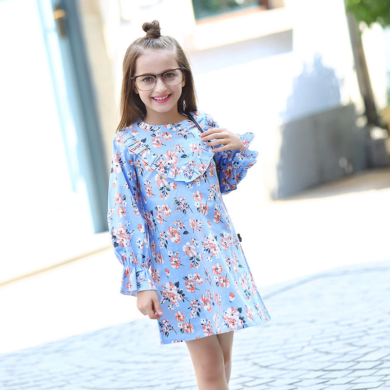 2017 Autumn Fall Teen Girls Floral Dress Vinage Blue Flower Baby Toddler Girls Dresses Frocks Age56789 10 11 12 13 14T Years Old<br>