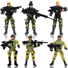 6pcs/set Elite Force Marine Recon Action Figure Modern model Military police soldiers toy weapons special forces special troops