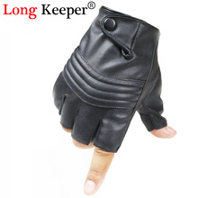 Long Keeper New Style Mens Leather Driving Gloves Fitness Gloves Half Finger Tactical Gloves Black Guantes Luva G223(China)
