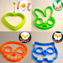 1 pcs Reusable Silicone Egg Makes smile face owl Skull head rabbit shaped pancakes eggs kitchen tools