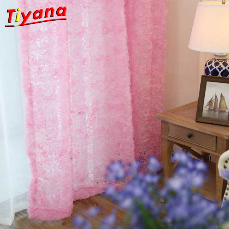 White Lace 3D Rose Curtains Voile Custom Window Screens For Marriage Living Room Bedroom Korean Creative Pink Sheer WP148 *30