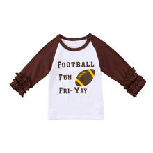 Kid Toddler Baby Girl Ruffle Rugby Football T-shirt Casual Long Sleeve Children Tees Top Winter Girl Clothes 6M-4T(China)