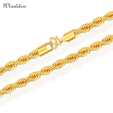 Chunky Yellow Gold Color 8mm HipHop Heavy Thick Rope Chain Long Necklace for Men Jewelry 24'' 60cm Hook Clasp Hot Festive Gifts