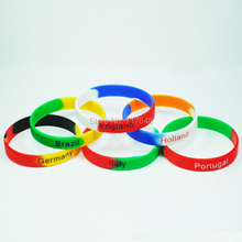 200pcs world cup england brazil germany italy holland portugal wristband silicone bracelets free shipping by FEDEX(China)