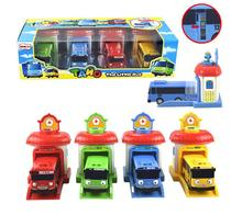 4Pcs/Set Toy Car Scale Model car tayo children miniature bus mini plastic babies toys little tayo tayo bus toys for children 012