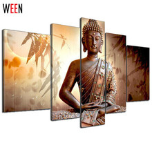 Religion Buddha Hand Painted Oil Paintings On Canvas Contemporary Gift For Living Room 5 Pcs Quadros De Parede Pintura A Oleo(China)