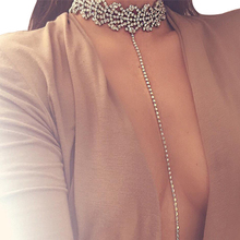 New Chic chain rhinestone necklace women collier Party pendant necklace accessories Club flower necklace 2017