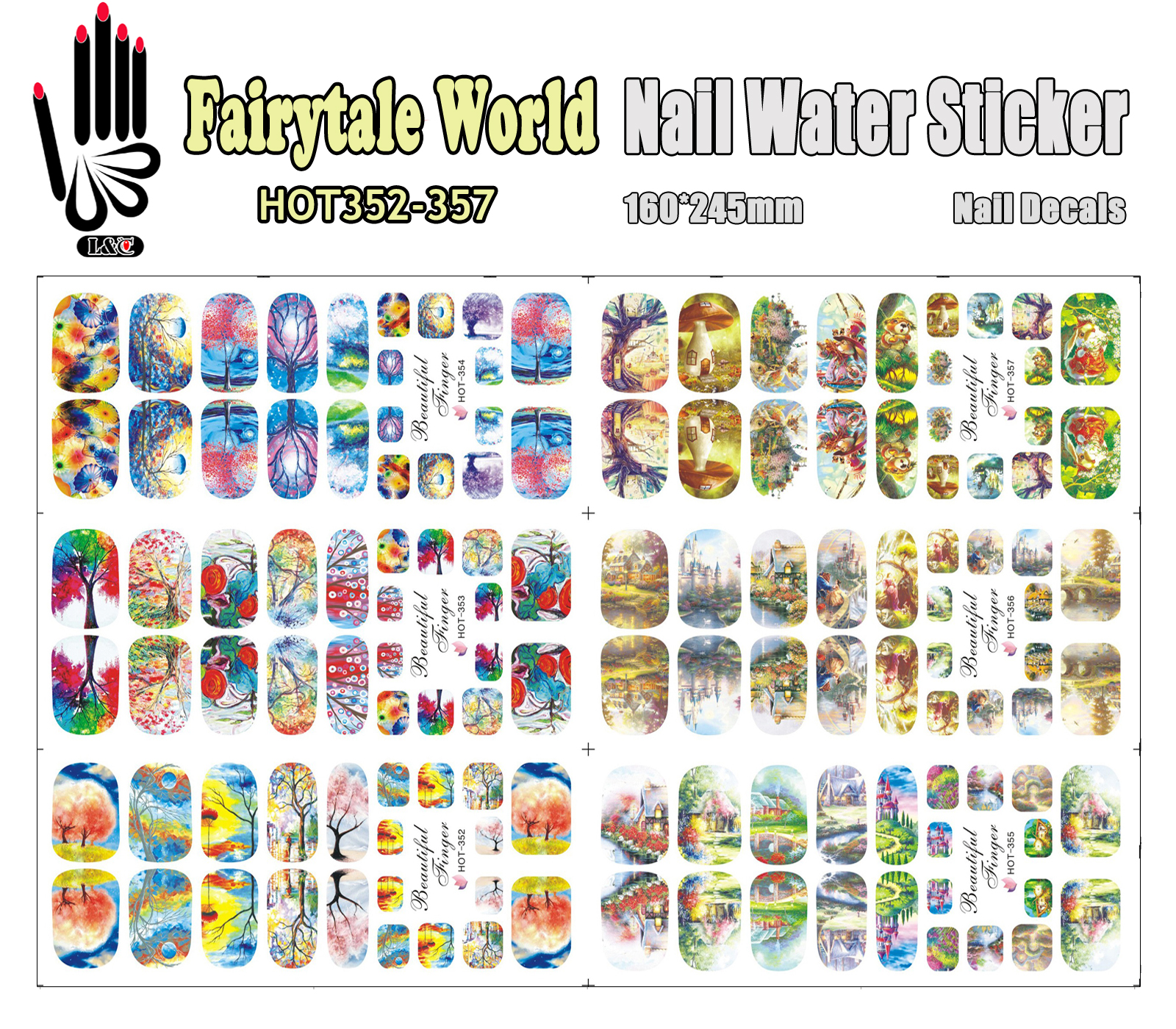 6 Sheets/Lot Art Nail HOT352-357 Fairytale World Full Cover Nail Film Nail Art Water Sticker Decal For Nail Art (6 DESIGNS IN 1)<br><br>Aliexpress