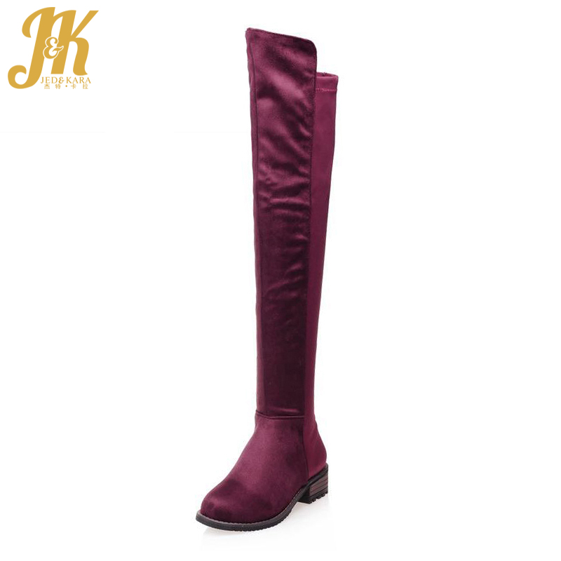 Big Size 34-43 Fashion 2017 Thick Heels Over the Knee Boots for Women Concise Female Footwear Nubuck Slip On Fall Winter Boots<br>