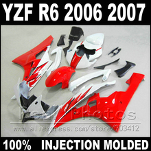Hot sale body kit for YAMAHA R6 fairing 06 07 Injection molding red white black 2006 2007 YZF R6 fairings(China)
