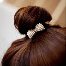 2 pcs HOT Beautiful Women Girl Crystal Rhinestone Pearl Hair Band Rope Elastic Ponytail Bowknot Hair Accessories