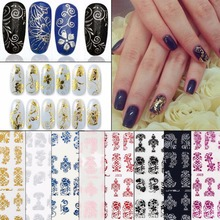 108PCS/Sheet Nail Art Sticker 3D Design Nail Art Decorations Nail Decal Flowers Manicure Stickers Nail Accessories Decals(China)