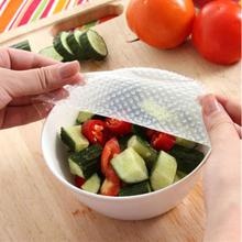 Clear Reusable Silicone Food Wraps Seal Cover Stretch Multifunctional Food Fresh Keeping Saran Wrap Kitchen Tools(China)