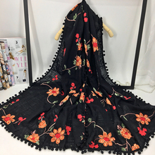 High Quality Fashion Flower Embroidery Pure Cotton Scarf for Women Unique Design Ball Fringed Autumn/Winter Ladies Warm Pashmina(China)