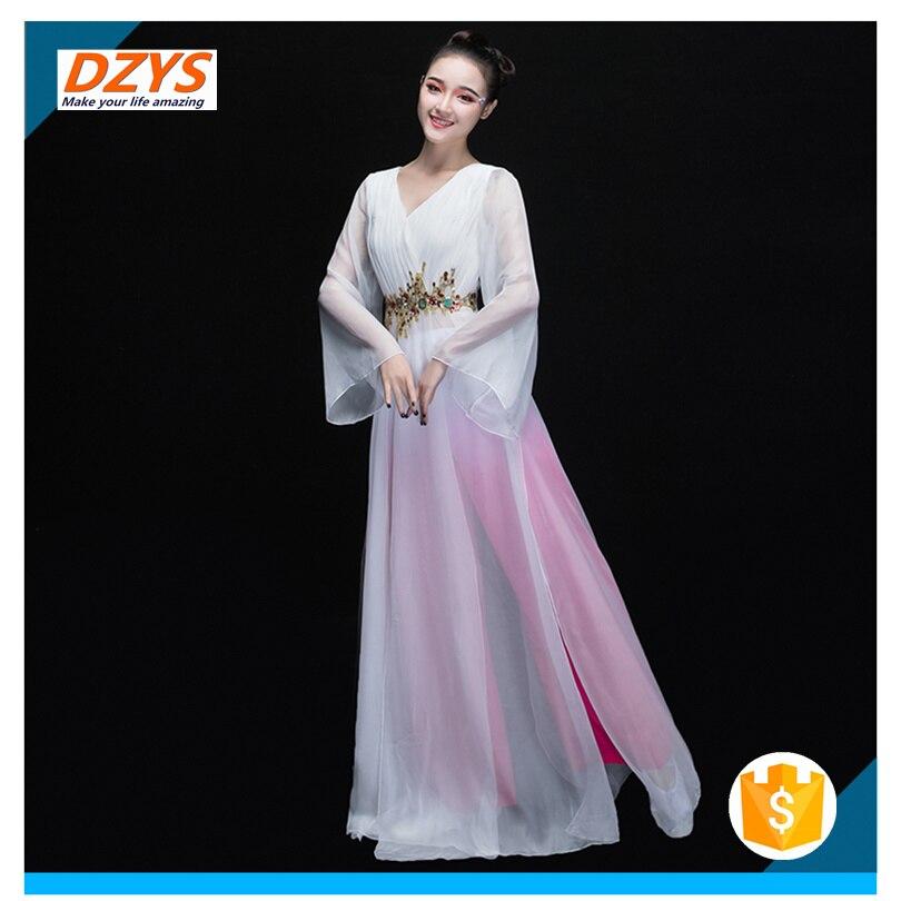 Women\`s new elegant modern dance costume sleeves dance dress03