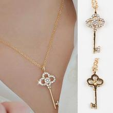 Long Strip Key Crystal Pendants Necklaces Jewelry collier femme Hot Fashion Gold Color  Chain Necklace Pendants Free Shipping