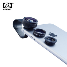APEXEL 3 in 1 Clip Cell Phone Camera 180 Degree Fisheye Lens + 0.67X Wide Angle +10X Macro Lens for iPhone 6 7 Samsung Xiaomi(China)