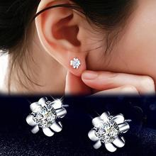 Hot Sale Fashion Rhinestone Classic Delicate Clovers Stud Earrings Silver Plated Ear Charm Jewelry
