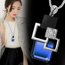 2016 fashion personality Silver color Hollow Geometric Big Crystal long Pendant Necklace Fine Jewelry for women Sweater chain(China)