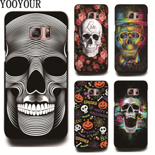 Hot Sale Skull flowers plastic Cover Case For Samsung Galaxy S2 S3 S4 S5 mini S6 S6Edge PLUS S7 S7EDGE S8 S8PLUS(China)