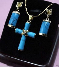 "new Style Hot sale********Gorgeous Turquoises""cross"" Pendant Necklace + Earrings Fashion Wedding Party Jewellery(China)"