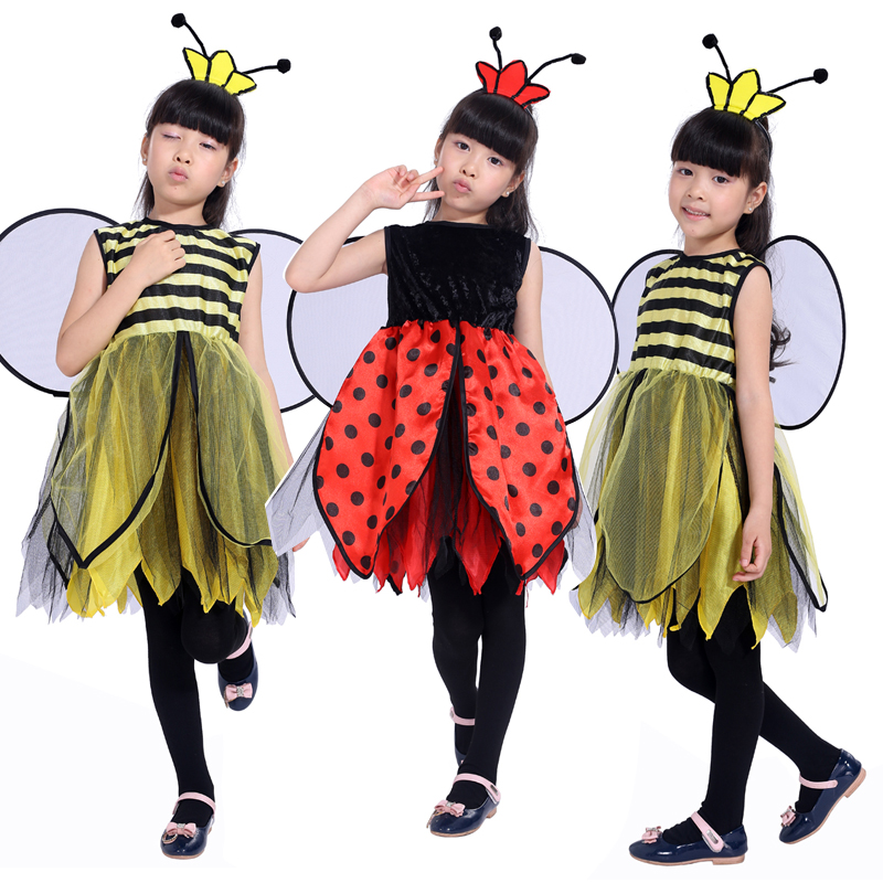 new free shipping childrens masquerade party bee costume for girls bee ladybug halloween costume pretty - Bee Halloween