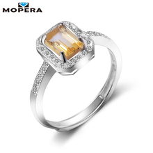 New Lady Luxury Ring 0.8ct High Quality 100% Natural Citrine Rings For Women Real 925 Solid Sterling Silver Jewelry Wedding Ring(China)