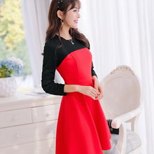2017 Summer Fashion Lady Long Sleeve Patchwork Dress Women Dresses Round Collar Casual Dress Lady Clothes Vestidos(China)