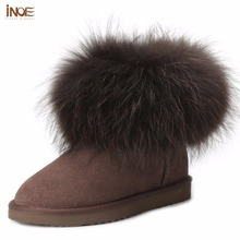 INOE fashion fox fur short ankle girls winter suede snow boots for women genuine sheepskin leather fur lined winter shoes brown