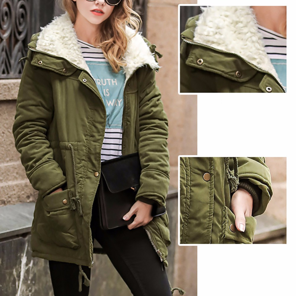 Winter Jacket Parkas Warm Cotton Padded Jacket Wool for Women Casual Type Waist Slimming Thick Outwear Winter CoatÎäåæäà è àêñåññóàðû<br><br>