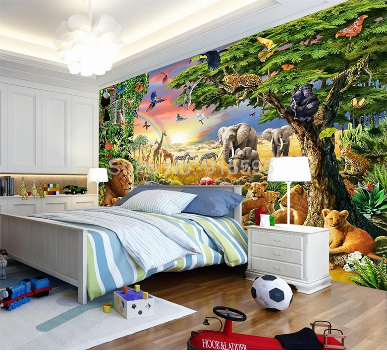 HTB1iMKBSpXXXXaJXVXXq6xXFXXXF - Custom Photo Mural Non-woven Wallpaper 3D Cartoon Grassland Animal Lion Zebra Children Room Bedroom Home Decor Wall Painting
