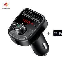 Bluetooth Car Kit Hands Free FM Transmitter Modulator Audio MP3 Music Player 2 Dual USB Fast Car Charger 8G SD TF Card Adapter(China)