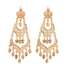 Gold Color Chandelier Filigree Heart Bohemian Big Drop Dangle Long Earrings For Women Wedding Jewelry Aros Pendientes Colgantes