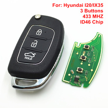3 Button Remote Car Key For Hyundai I20/IX35 Remote Control With Uncut Blade ID46 Chip