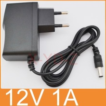 1PCS 12V1A New AC 100V-240V Converter power Adapter DC 12V 1A 1000mA Power Supply EU Plug DC 5.5mm x 2.1mm Free post shipping